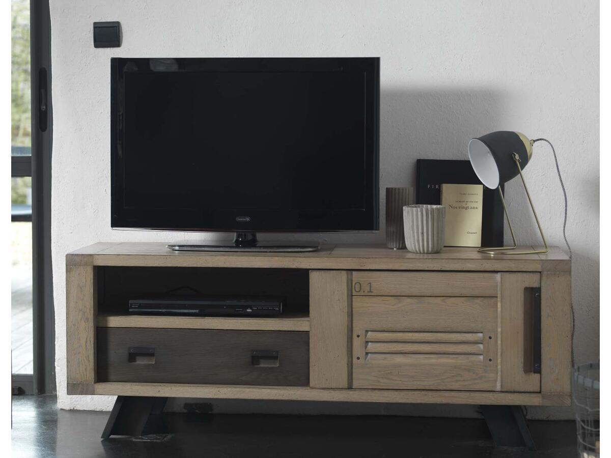 meuble tv 1 porte 1 tiroir 1 niche